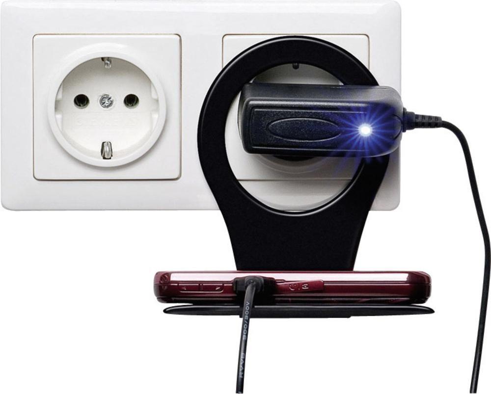 Závěsný držák na mobil a nabíječku k zásuvce - Černý